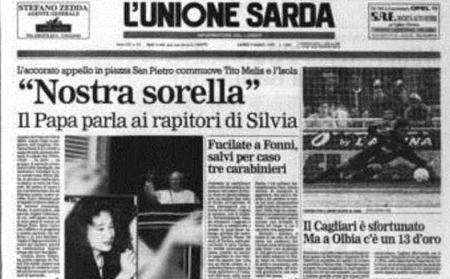 La prima pagina de L'Unione Sarda del 3 marzo con l'appello di Papa Giovanni Paolo II