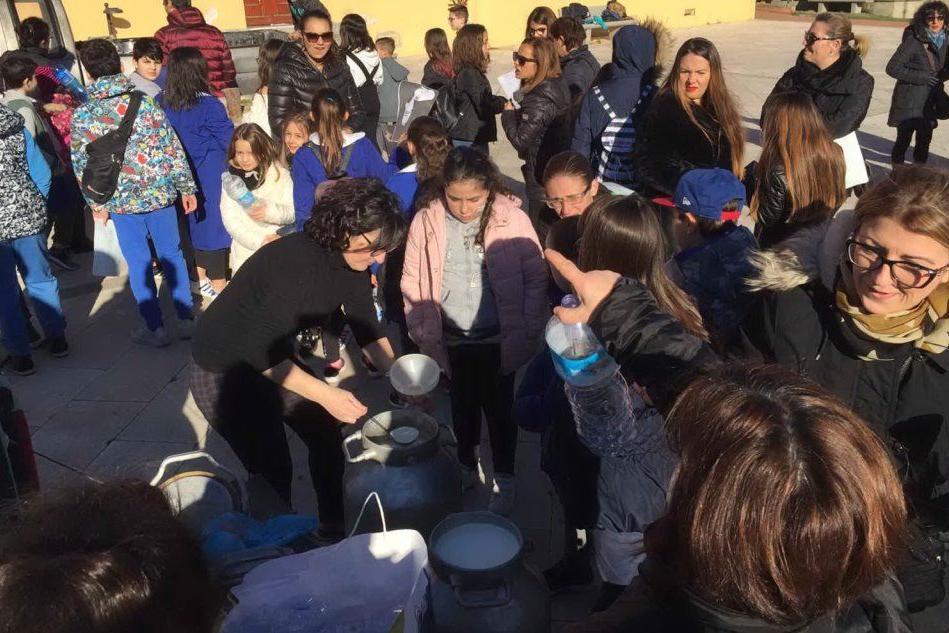 Gli alunni a Serdiana (foto L'Unione Sarda/Massimo Ledda)