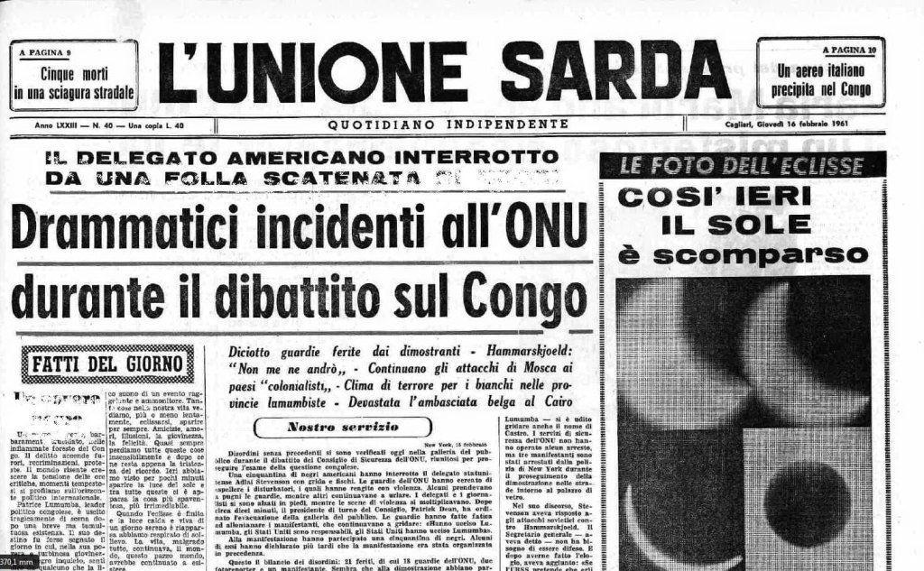 #AccaddeOggi: il 15 febbraio 1961 l'eclisse totale di Sole nel racconto de L'Unione Sarda