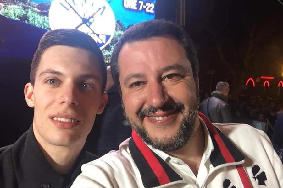 Giovanni Miscali con Matteo Salvini (foto da facebook)