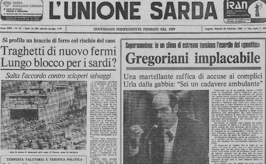 La prima pagina dell'Unione Sarda riporta la notizia