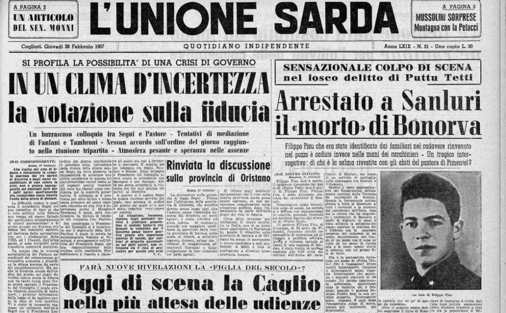 """#AccaddeOggi: 28 febbraio 1957, la prima pagina de L'Unione Sarda con l'arresto del \""""morto\"""" di Bonorva"""