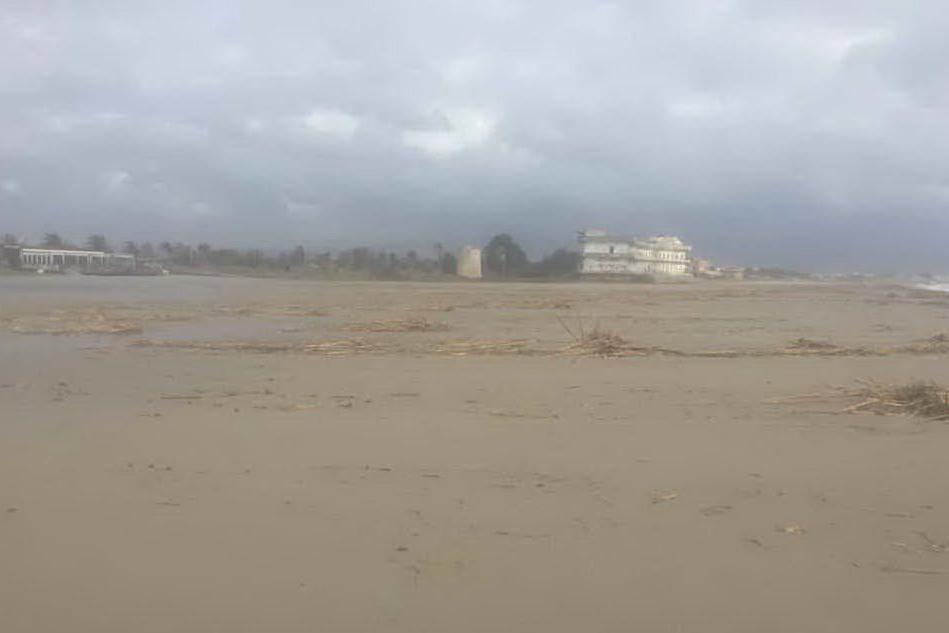 La mareggiata ha portato le canne verso l'interno della spiaggia (foto Marcello Cocco)