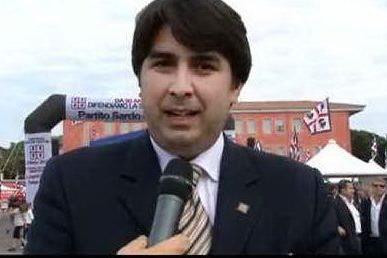 Christian Solinas in un fermo immagine tratto da un servizio del Tg di Videolina.