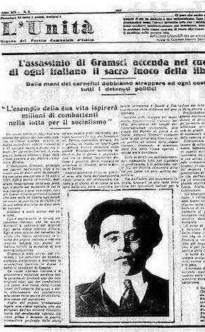 La notizia della morte di Gramsci il 27 aprile 1937