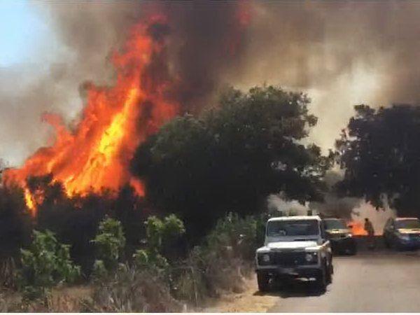 Il sud Sardegna brucia: evacuata la colonia penale di Is Arenas
