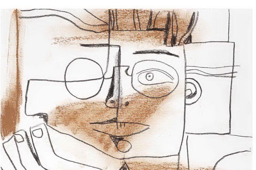 Antonio Gramsci in un disegno di Francesco Del Casino (foto concessa)