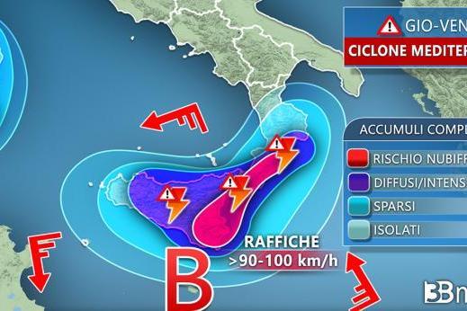 """Un """"uragano"""" in arrivo sul Mediterraneo: toccata anche la Sardegna"""