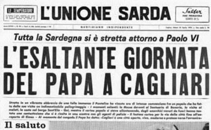 """La prima pagina de \""""L'Unione Sarda\"""" dedicata all'evento"""