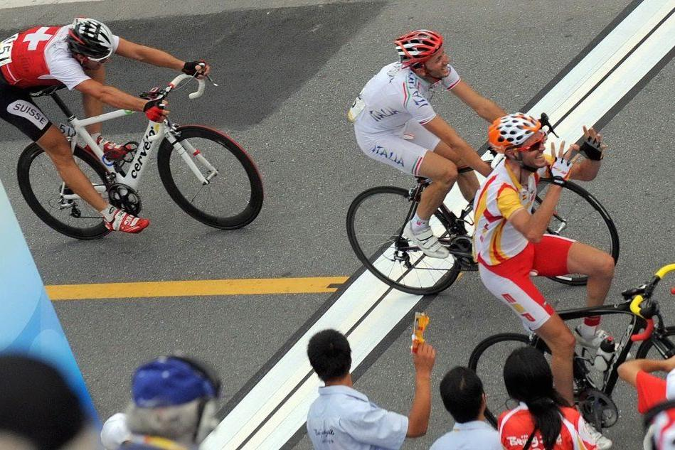 Davide Rebellin, secondo ai Giochi di Pechino 2008 (foto Ansa)