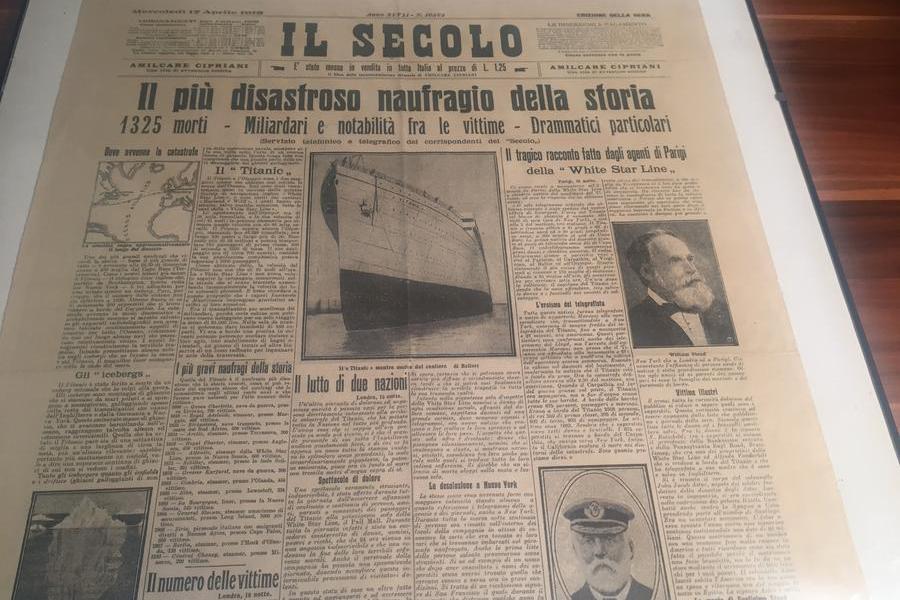 La pagina de 'Il Secolo' sul\u00A0naufragio del 1912 (foto c. ra.)