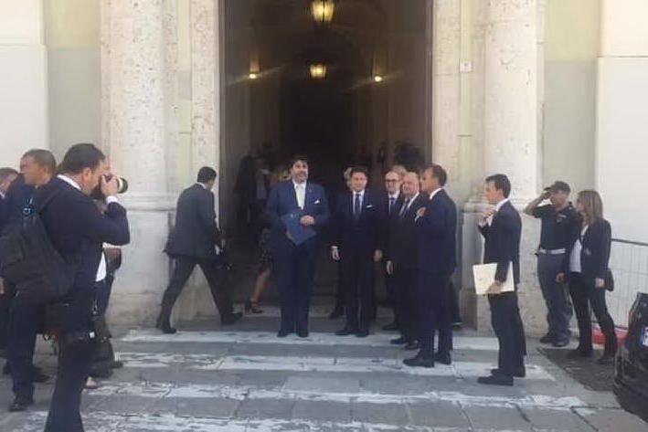 L'arrivo di Conte a Palazzo Regio