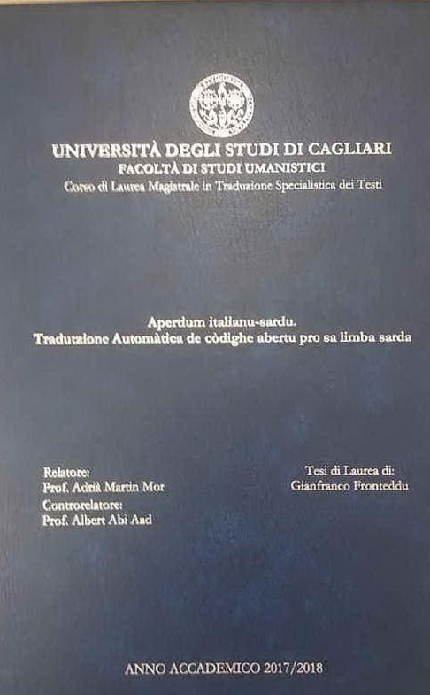 La copertina della tesi (foto Gianfranco Fronteddu)
