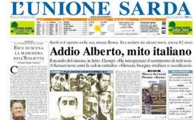 #AccaddeOggi: 24 febbraio 2003, addio Alberto Sordi, in prima pagina su L'Unione Sarda