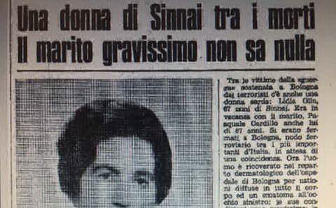 Lidia Olla, 67 anni,originaria di Sinnai e residente a Cagliari.Era tra le vittime della strage. La sua foto sulla prima pagina dell'Unione Sarda del 4 agosto 1980