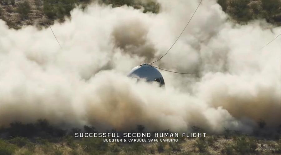 L'atterraggio della New Shepard (foto via Ansa)