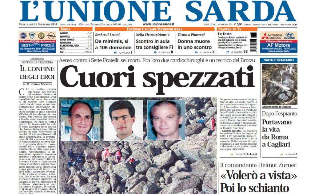 #AccaddeOggi: 25 febbraio 2004, il quotidiano L'Unione Sarda apre sulla tragedia del Sette Fratelli in cui sono morte 6 persone