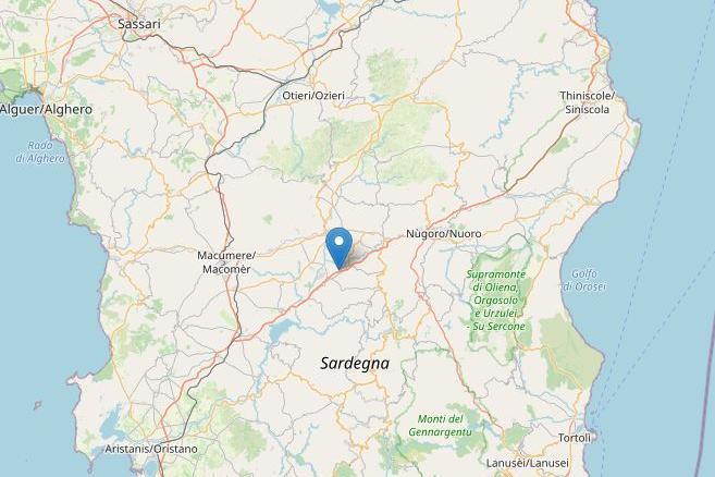 Scossa di terremoto vicino a Ottana