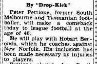La pagina del The Mercury (di Hobart) del 15 agosto 1953 sul ritorno di Pettiona