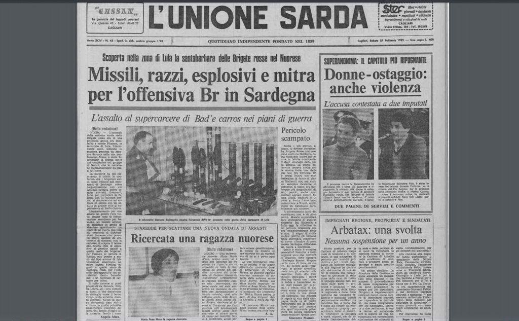 #AccaddeOggi: 27 febbraio 1982, scoperto a Lula l'arsenale delle Brigate Rosse