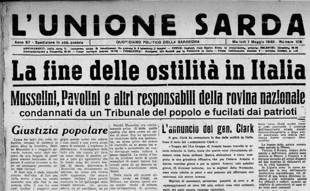 La prima pagine de L'Unione Sarda (tutte le foto sono US e Wikipedia)