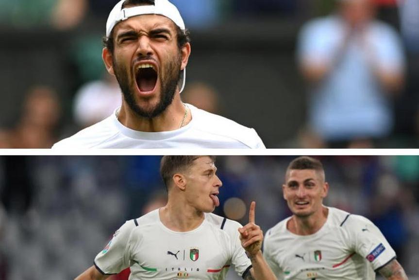 Matteo Berrettini, sotto, Barella e Verratti dopo il gol del centrocampista sardo al Belgio (Ansa)