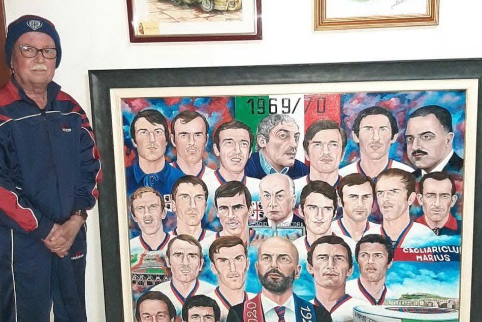 Tigellio Manni con il suo quadro (Foto A.Serreli)