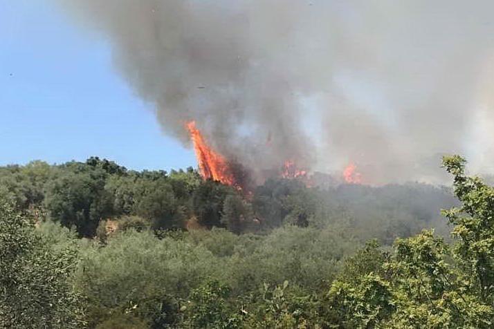 L'incendio (foto L'Unione Sarda - Sanna)