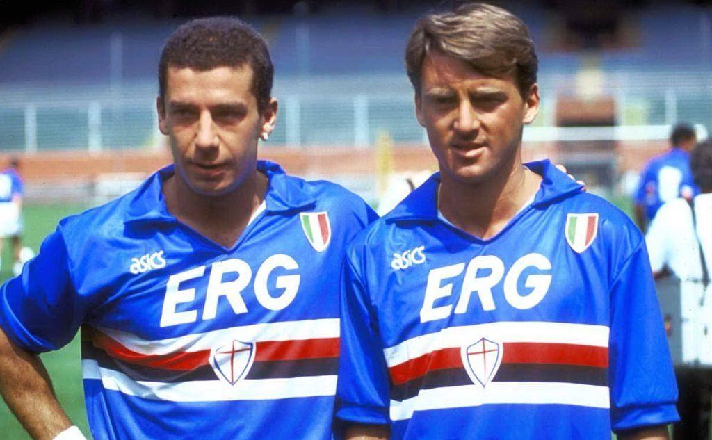 Gianluca Vialli e Roberto Mancini con la Samp