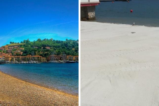 La spiaggia prima e dopo (foto @Legambiente)