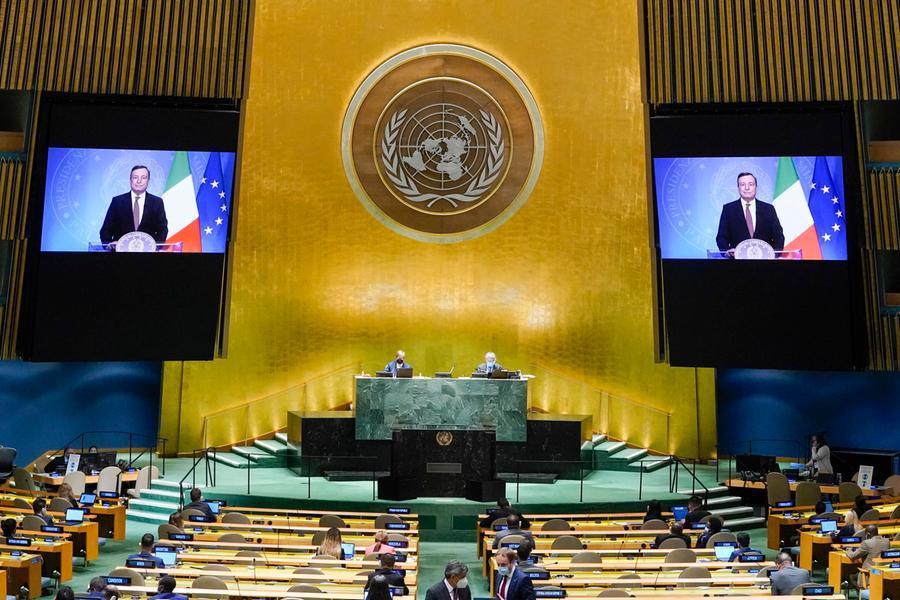 "Draghi all'Assemblea generale Onu: ""Inaccettabili disparità sui vaccini con i Paesi poveri"""