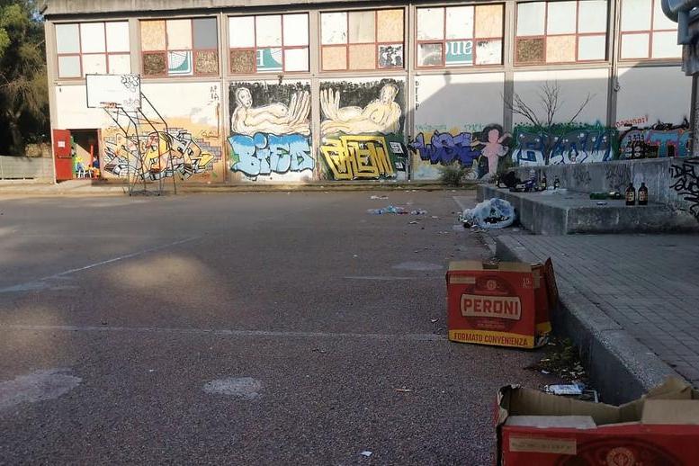 Un'immagine del playground di via Venezia la mattina (Foto G.Marras)