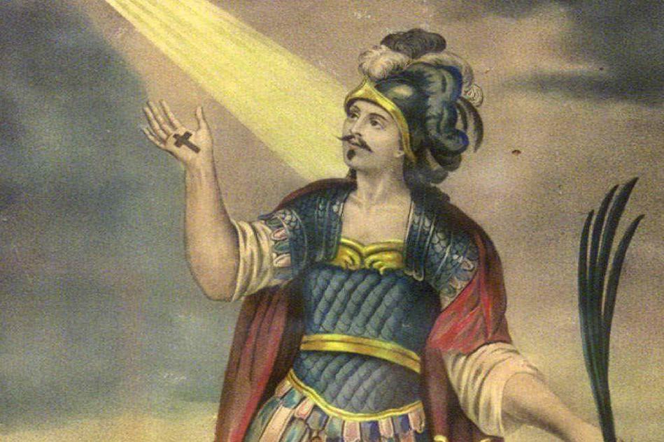 Un'antica stampa che ritrae il santo
