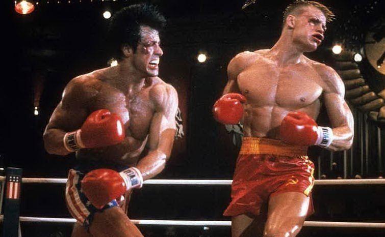 La memorabile sfida con il russo Ivan Drago, in Rocky 4 (le foto sono Wikipedia e frame del film)