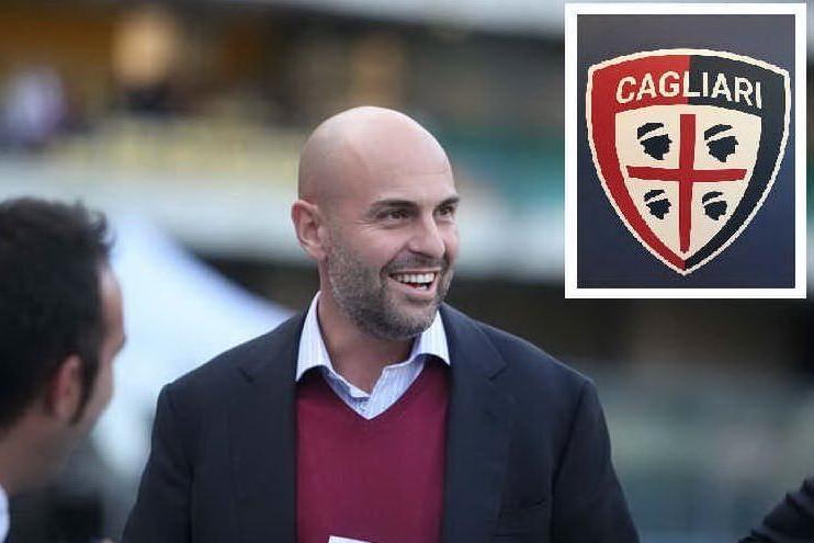 Il presidente Tommaso Giulini e nel riquadro il nuovo logo del Cagliari Calcio