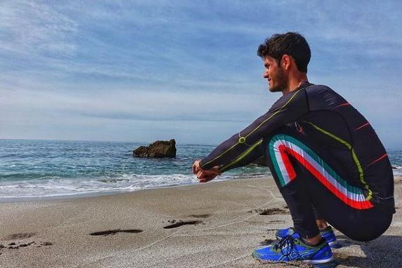 Stefano Oppo al mare (foto concessa)