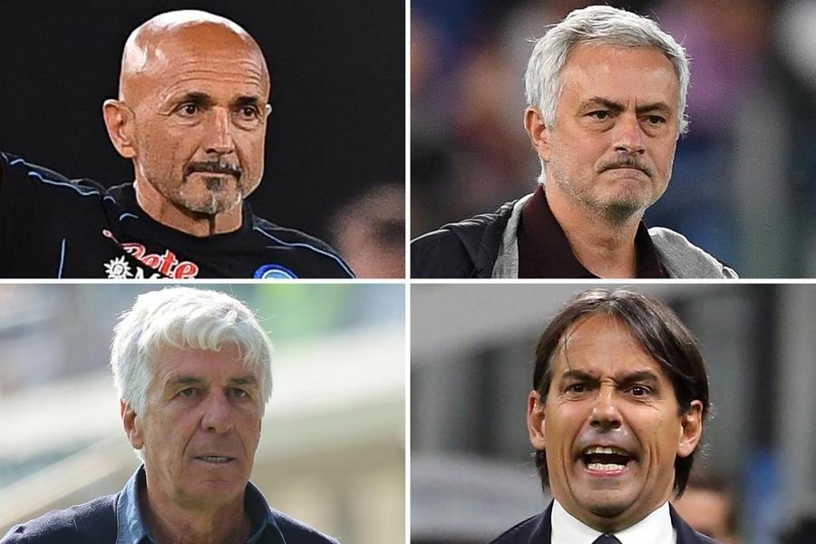 Serie A, quattro big in campo senza mister: Gasp, Inzaghi, Spalletti e Mourinho squalificati