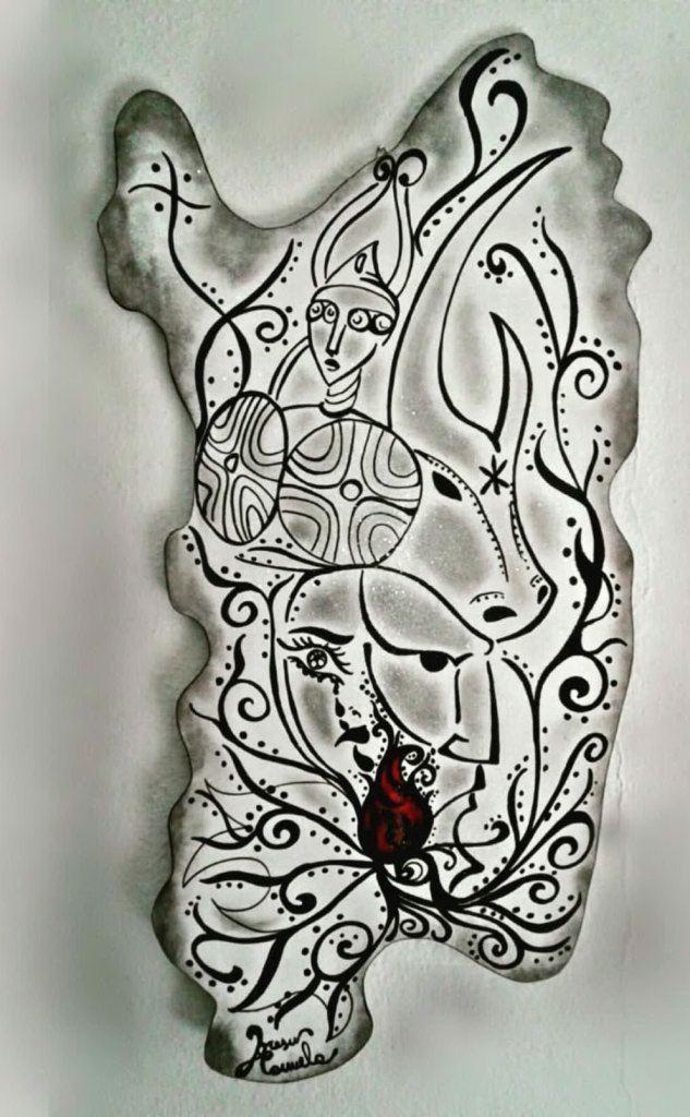 Periodo Covid: Sardegna in legno pitturata con acrilico e pennarello indelebile. Rappresenta la rinascita della nostra terra, le lacrime di una donna forte che la alimentano (foto concessa)
