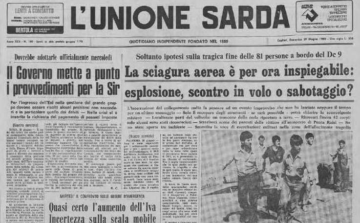 La prima pagina de L'Unione Sarda del 29 giugno 1980 (Archivio L'Unione Sarda)