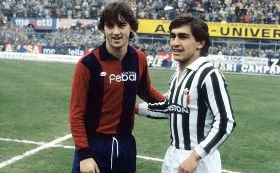 Mancini con la maglia del Bologna e Galderisi alla Juventus