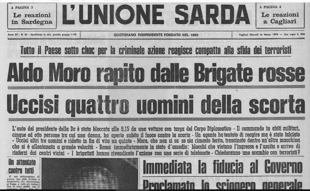 La prima pagina de L'Unione Sarda