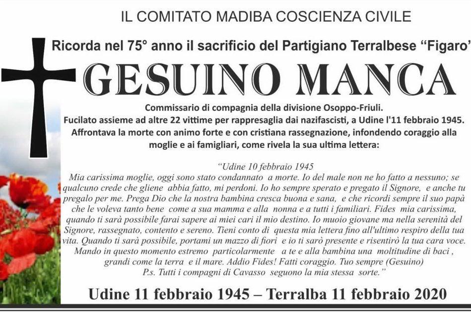 Terralba, un manifesto per ricordare il sacrificio del partigiano Gesuino Manca