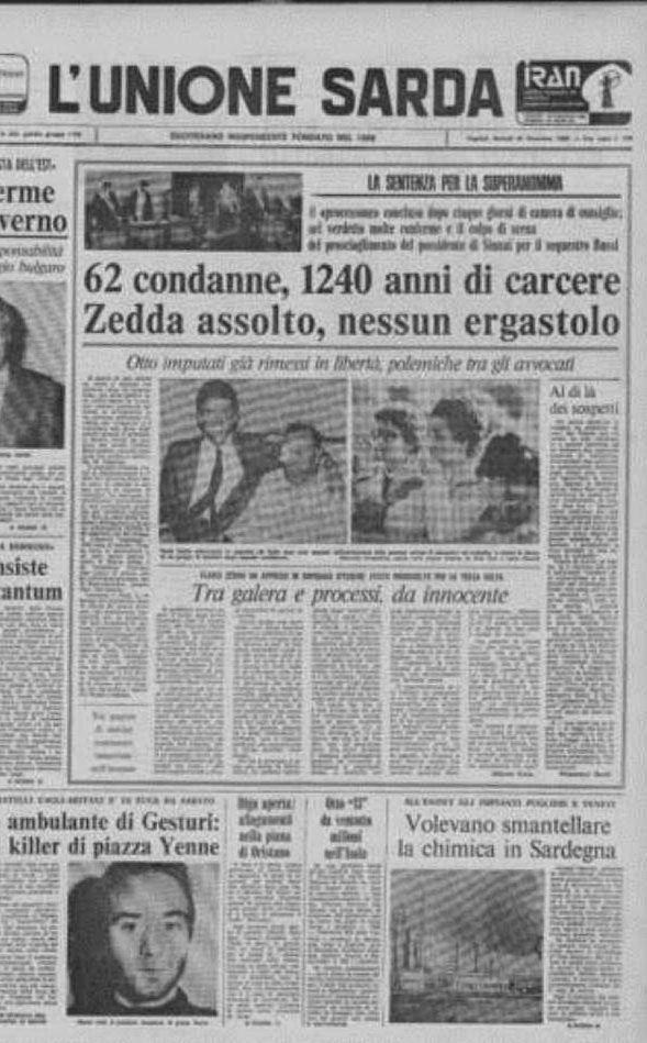 L'Unione Sarda dà in prima pagina notizia della sentenza contro la Superanonima