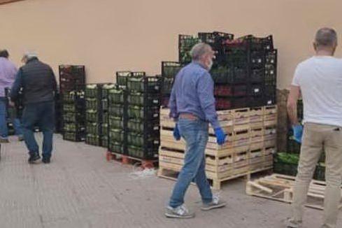 Il carico di frutta e verdura arrivato in basilica (foto Giorgia Daga)