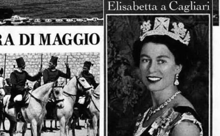 """La regina a Cagliari: la pagina de \""""L'Unione Sarda\"""""""