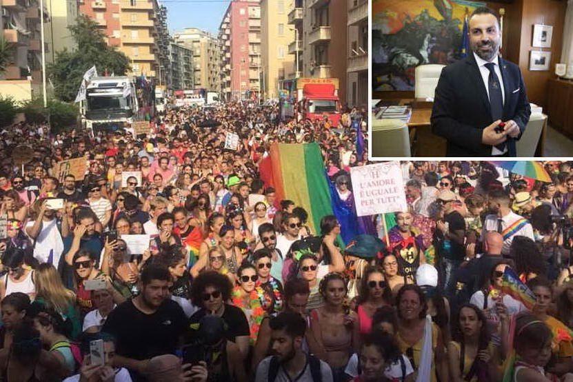 Il Sardegna Pride, nel riquadro Michele Pais (foto L'Unione Sarda - Ungari, Solinas)