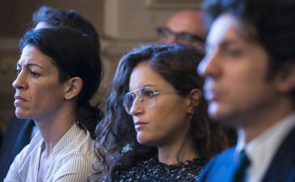 La compagna di Dj Fabo, Valeria Imbrogno in aula (Ansa)