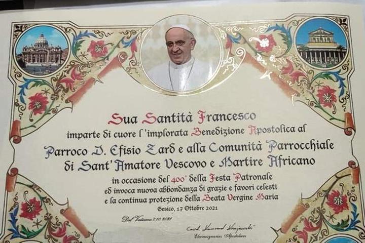 Festa di Sant'Amatore a Gesico: arriva la benedizione del Papa