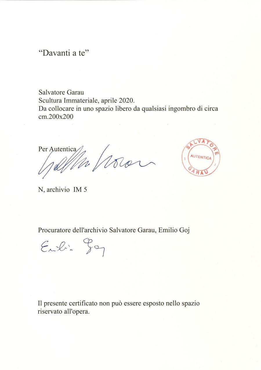 Il certificato di autenticità (foto ufficio stampa)