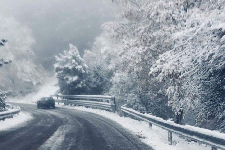 Neve in montagna nella notte, strade liberate subito